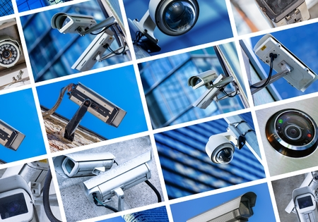 security equipment: collage of security camera and urban video Stock Photo