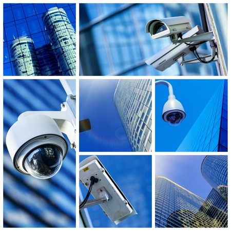 technology collage: collage of security camera and urban video Stock Photo
