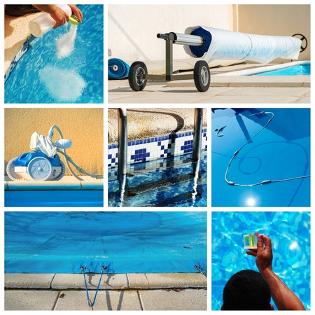 collage maintenance of a private pool Standard-Bild