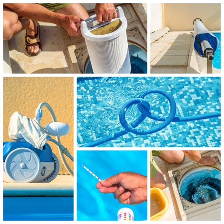 pool: collage maintenance of a private pool Stock Photo