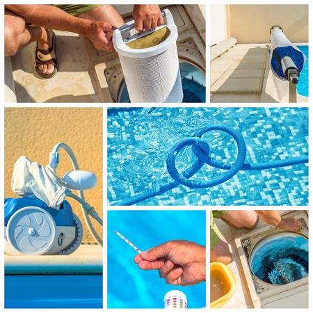 natacion: mantenimiento collage de una piscina privada Foto de archivo