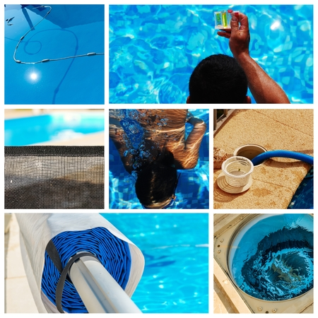 pump: collage maintenance of a private pool Stock Photo