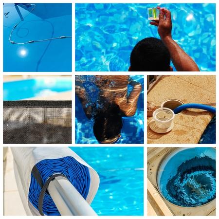 mantenimiento: mantenimiento collage de una piscina privada Foto de archivo