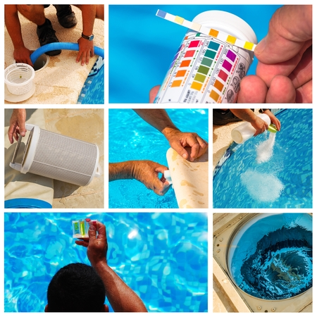 maintenance: collage maintenance of a private pool Stock Photo