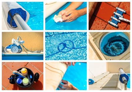collage maintenance of a private pool Foto de archivo