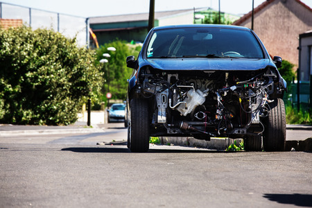 disassembly: car whose engine has been completely removed Stock Photo
