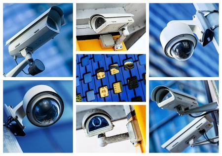 collage of security camera and urban video 免版税图像