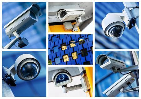 collage van bewakingscamera en stedelijke video