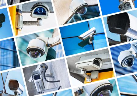 collage of security camera and urban video Stock Photo