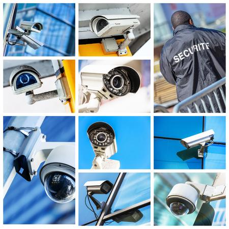 gardian: collage of security camera and urban video Stock Photo