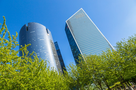 sg: PARIS, FRANCE - MAY 10, 2015: View of Societe Generale headquarter (SG) in La Defense district, Paris. Societe Generale is a French multinational banking and financial services company. Editorial