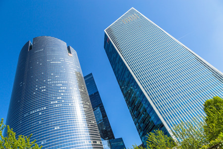 PARIS, FRANCE - MAY 10, 2015: View of Societe Generale headquarter (SG) in La Defense district, Paris. Societe Generale is a French multinational banking and financial services company. Editorial