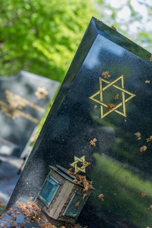 jewish star: Jewish cemetery: Star of David on the tombstone