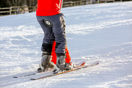 aplomb: GERARDMER, FRANCE - FEB 16- Closeup on beginner skier during the annual winter school holiday on Feb 16, 2015 in Gerardmer, France Editorial