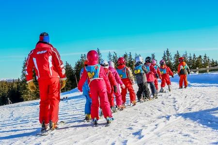 school form: GERARDMER, FRANCE - FEB 20 - French children form ski school groups during the annual winter school holiday on Feb 20, 2015 in Gerardmer, France. Editorial