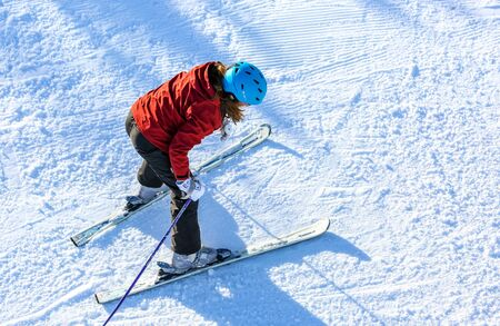 aplomb: GERARDMER, FRANCE - FEB 17- Closeup on beginner skier during the annual winter school holiday on Feb 17, 2015 in Gerardmer, France Editorial