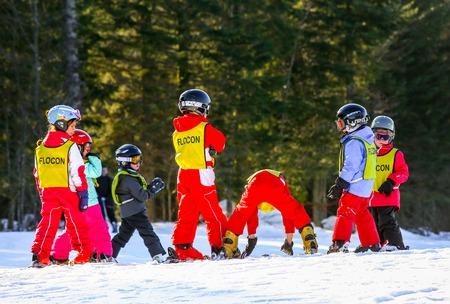 school form: GERARDMER, FRANCE - FEB 19 - French children form ski school groups during the annual winter school holiday on Feb 19, 2015 in Gerardmer, France. Editorial