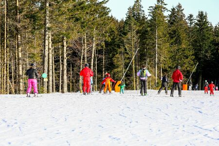 aplomb: GERARDMER, FRANCE - FEB 20 - Group of beginner skiers during the annual winter school holiday on Feb 20 2015 in Gerardmer, France Editorial