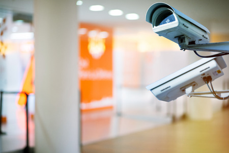 security camera and urban video indoors Stock Photo