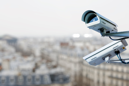 security camera on a city Standard-Bild