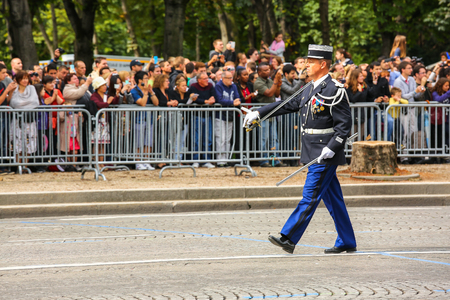 defile: PARIS, FRANCE - JULY 14, 2014: Colonel Military parade of National Gendarmerie (Defile) during the ceremonial of french national day, Champs Elysee avenue. Editorial