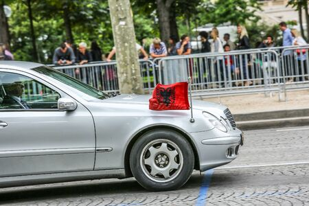 champs elysees: PARIS, FRANCE - JULY 14, 2014: Albania Diplomatic car during Military parade (Defile) in Republic Day (Bastille Day). Champs Elysees. Editorial