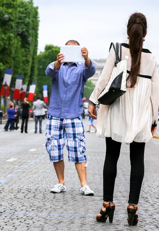 champs elysees: Pretty parisian girl photographed by her lover