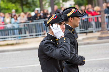 champs elysees: PARIS, FRANCE - JULY 14, 2014: Student of Polytechnic Engineering school (Ecole polytechnique) during Military parade (Defile) in Republic Day (Bastille Day). Champs Elysees. Editorial