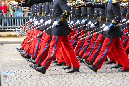 Close-uo of Military parade during the ceremonial Stock Photo