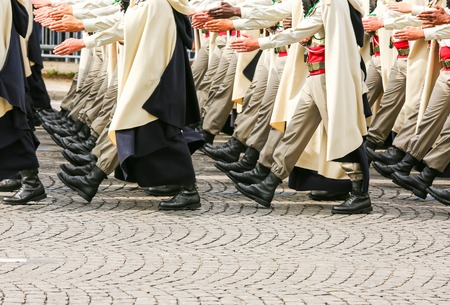 close uo: Close-uo of Military parade during the ceremonial Stock Photo