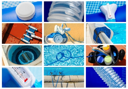 Collage close-up maintenance of a private pool