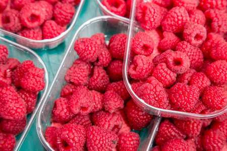 farm market: Colorful Red raspberries in boxes at local farm market.
