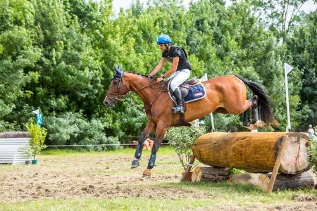 uomo a cavallo: Saint Cyr du Doret, Francia - 29 luglio 2016: Cavaliere di equitazione su un ostacolo in caso di fondo Editoriali
