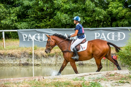 eventing: Saint Cyr du Doret, France - July 29, 2016: Rider crossing water jump galloping at a cross country manisfestation