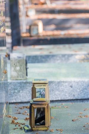 sephardic: candle lantern on the stone grave