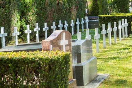 France, Puteaux - May 15, 2015: graves of soldiers who died for France during World War II