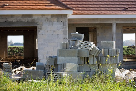 laths: new house under construction with concrete cellulare Stock Photo
