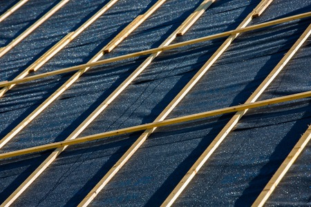 rockwool: detail of roof insulation in a new house Stock Photo