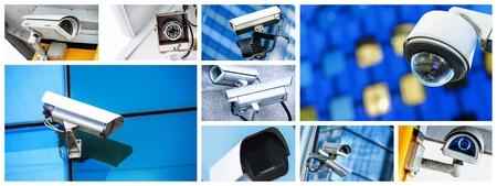 Panoramic collage of closeup security CCTV camera or surveillance system Stock Photo
