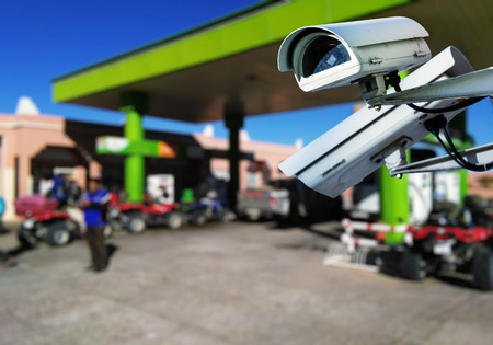 service station: closeup on security CCTV camera or surveillance system in service station Stock Photo