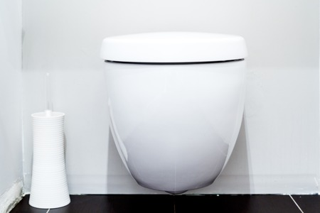 empty the bowel: Close on the toilet in a modern bathroom Stock Photo