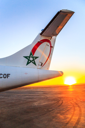 Ouarzazate, Morocco - Feb 28, 2016: tail of the cargo plane of the airline Royal Air Morocco Editorial