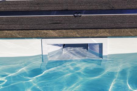 hatch skimmer system of private pool Foto de archivo