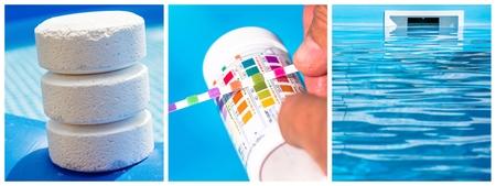 Collage close-up onderhoud van een eigen zwembad Stockfoto