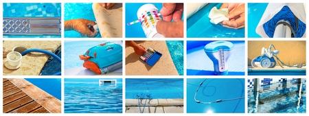 algas marinas: Collage de primer plano mantenimiento de una piscina privada Foto de archivo