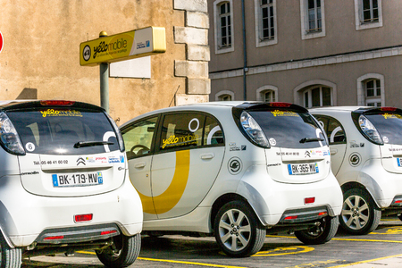 recharging: La rochelle, France - April 19, 2016: Free recharging Station of Yelow Mobile Electric Car