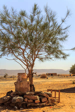 desierto del sahara: pozo de agua en el desierto del Sahara
