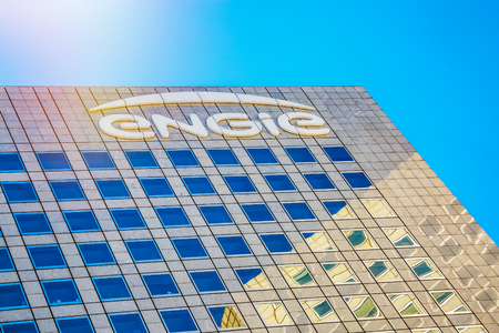 La defense, France - July 17, 2016: Close-up on top of Engie tower. Engie is a French multinational electric utility company which operates in the fields of electricity generation and distribution, natural gas and renewable energy Editorial