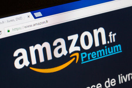 signup: Paris, France - December 15, 2016: Amazon Prime French homepage . Amazon Prime (Premium in french) , is an annual subscription offered by amazon covering a set of privileges and services, standard free shipping and orders within 1 day