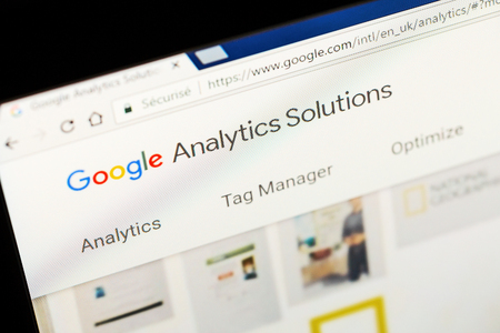 adwords: Paris, France - January 03, 2017 : Close up of Google analytics main page on a computer screen. Google Analytics is a service offered by Google that generates statistics about a websites traffic.